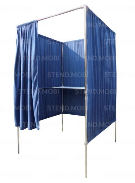 Кабинка для голосования (хромированные трубы, столик ДСП, ткань)